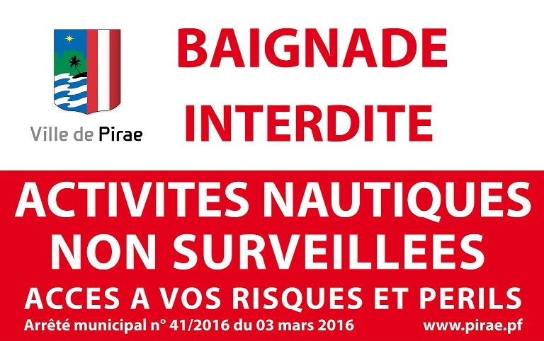 web Visuel Pirae - Panneau baignade interdite