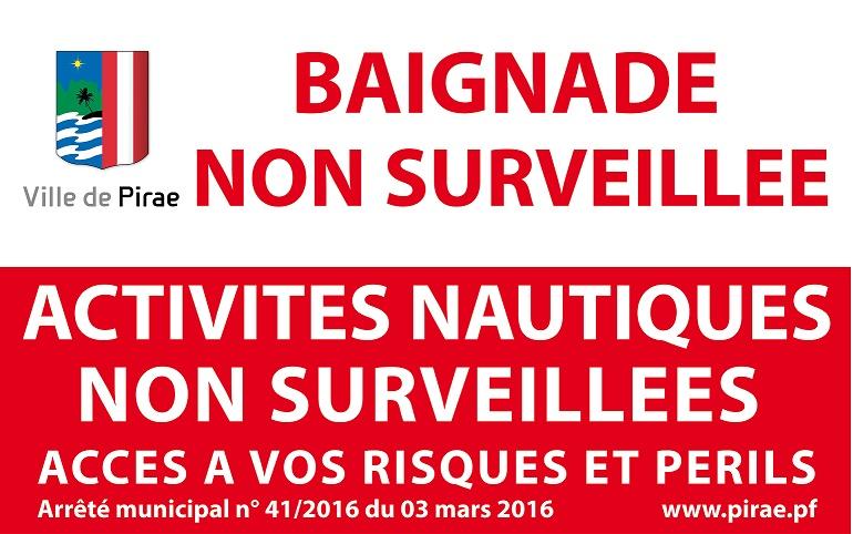 web Visuel Pirae - Panneau baignade non surveillée